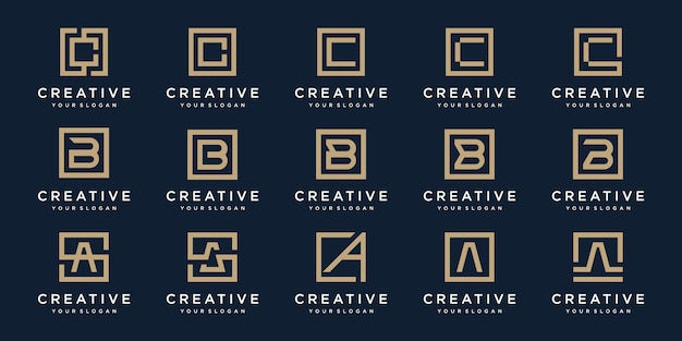 Set of logo  letters a, b and c with square style.  template