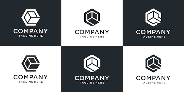Set of logo letters q with hexagon box style