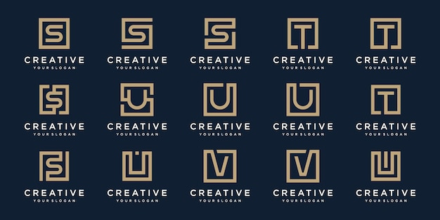 Set of logo  letters s, t, v and u with square style.  template