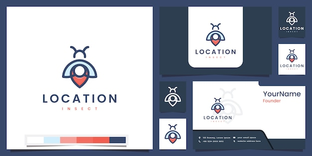 Set logo location insect with line color concept logo design inspiration