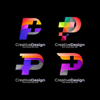 Set logo medical, letter p logo and plus design combination, 3d colorful