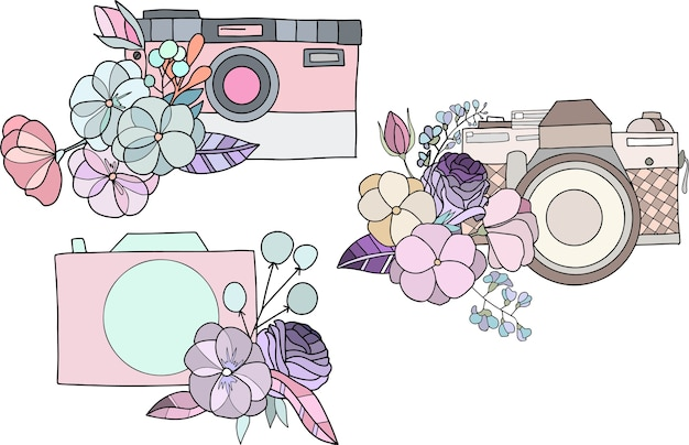 Set of logo mockups with cameras and floral elements