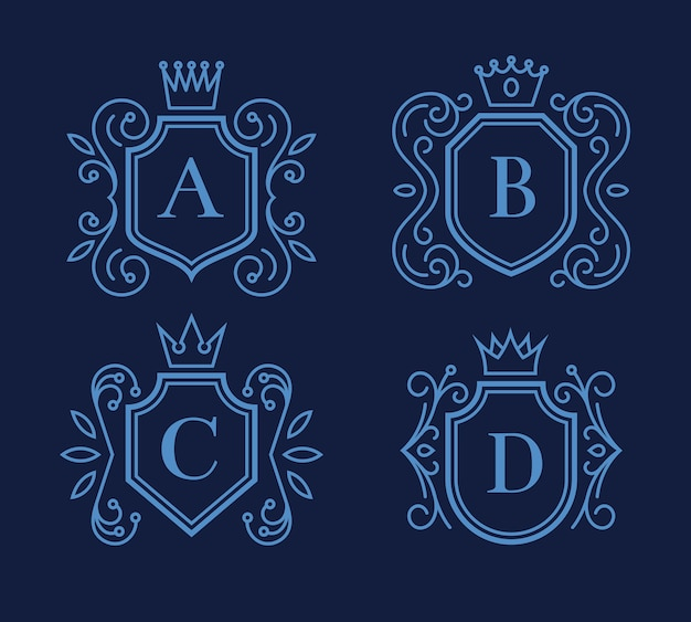 Set of logo or monogram design with shields and crowns. victorian frame