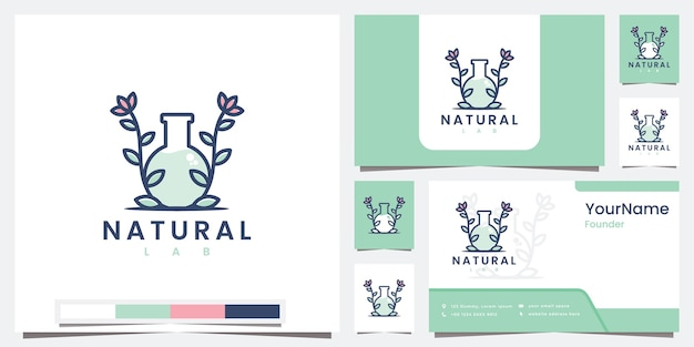 Set logo natural laboratory with line art logo design inspiration