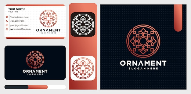 Set of logo ornament design templates in trendy linear style with flowers