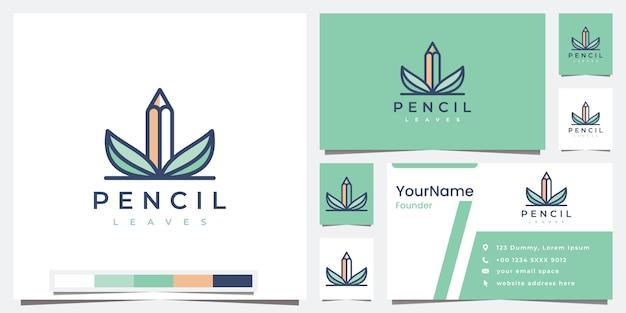 Set logo pencil leaves with color version logo design inspiration