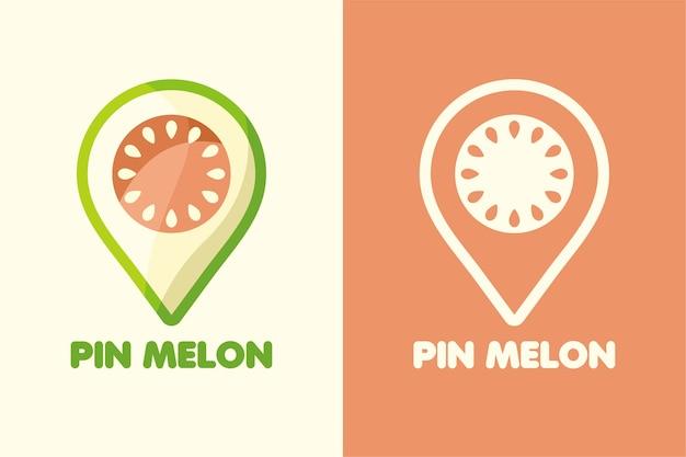 Set logo pin melon color and line art