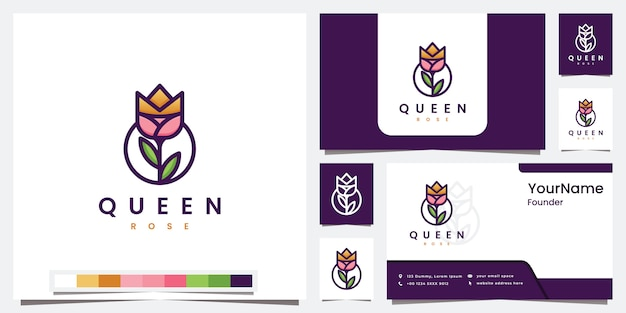 Установите логотип королевы розы с цветным дизайном логотипа