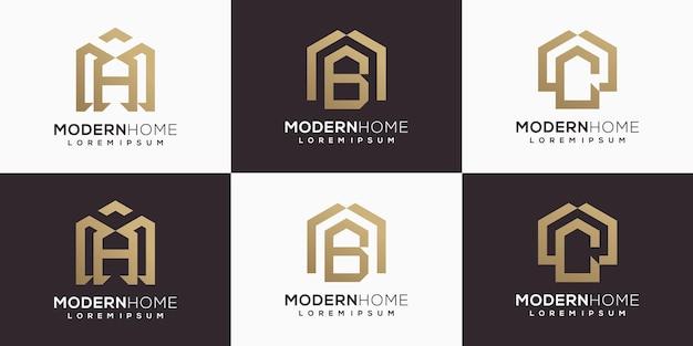 Set of logo for real estate, logo lettering concept