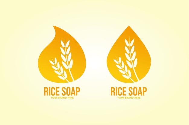 세트 로고 쌀 비누 미용