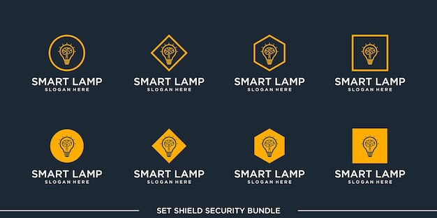 Set logo smart lamp bulb bundle vector premium