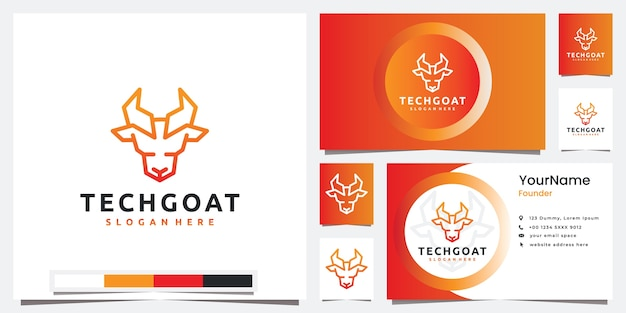 Set logo technology with head goat line art style logo design inspiration