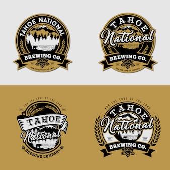 Set of logo template mountain brewing