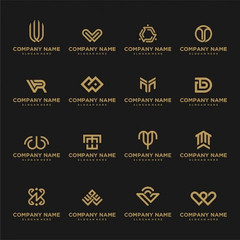 Set of logo template. unusual icons for business universal of luxury, elegant, simple.
