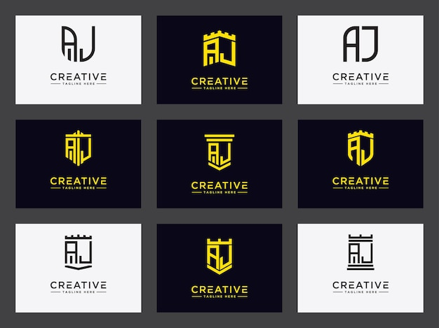 Set logo template with initial aj letters