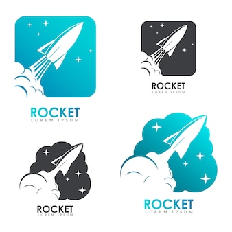 Set of logo templates with rocket launch.