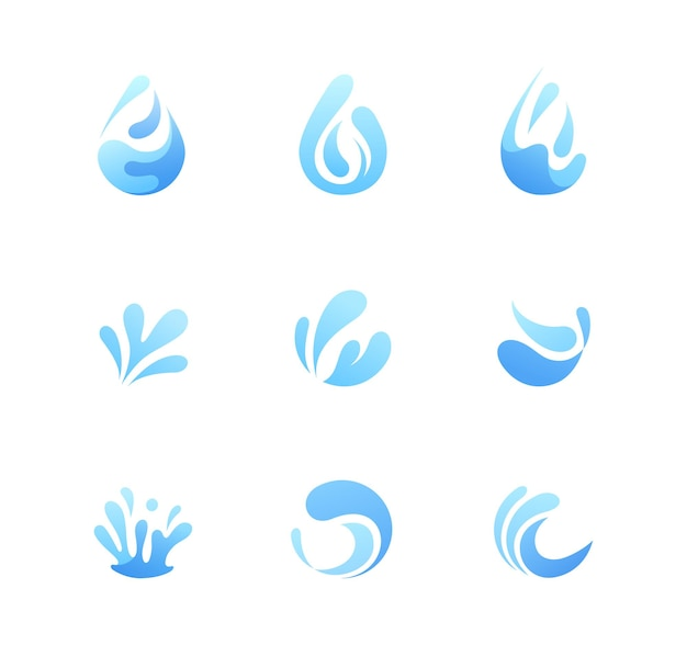 Set logo of water. pack of nine water with abstract forms.