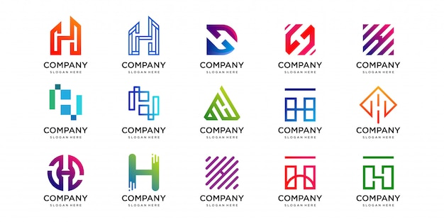 Set of logo with letter h design collection, technology, luxury, home, building, geometry