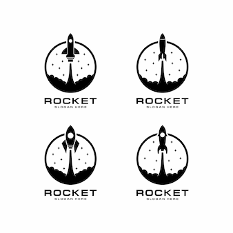 Set of logo with rocket launch