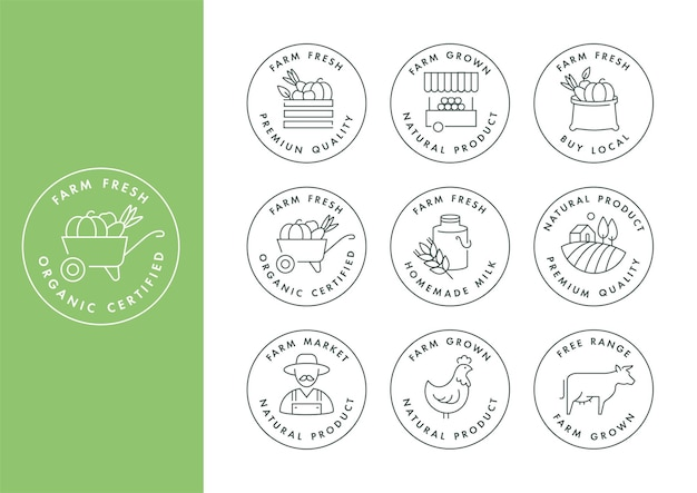 Set of logos, badges and icons for natural farm and health products.
