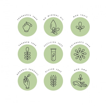 Set of logos, badges and icons for natural and organic products. eco safe sign design. collection symbol of healthy products.