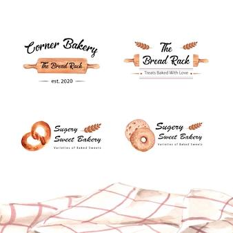 Set di loghi di negozi di panetteria