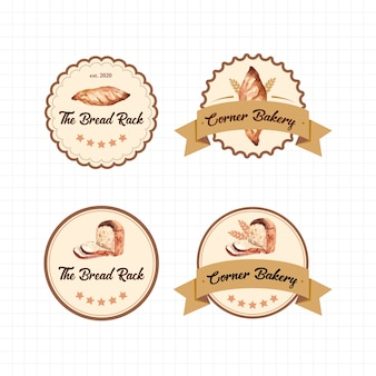 Set of logos of bakery shops