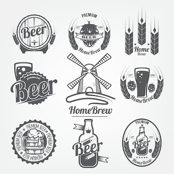 Set of logos of beer. homebrew, a natural product with high quality grain