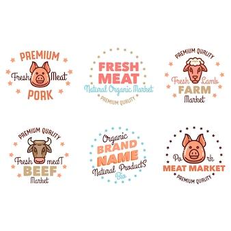 A set of logos for a butcher's shop, or an eco-farm.