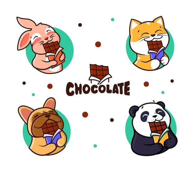 Set of logos chocolate. logotypes animals eating chocolate.