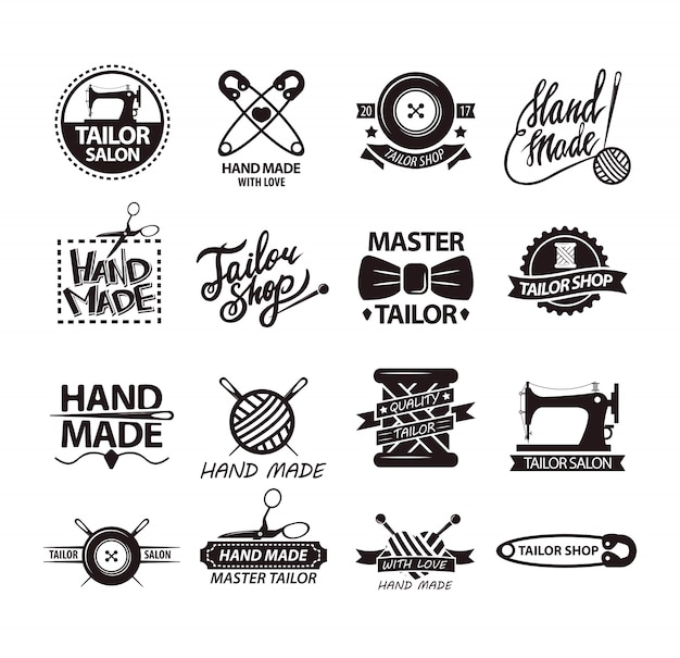 Set of logos for handmade shops. tailor salon advertisement logotypes.