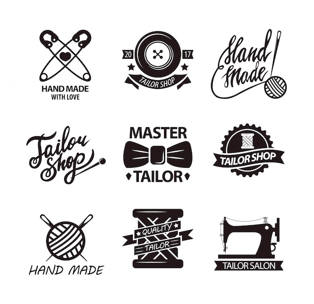 Set of logos for handmade shops