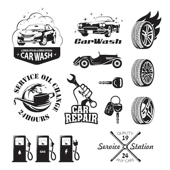 Set of logos and icons relating to service station car: oil change, car wash and polish the car, repair, change of tires, refueling of petrol, gas and electricity