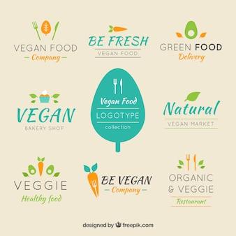 Set of logos for restaurants vegetarian food