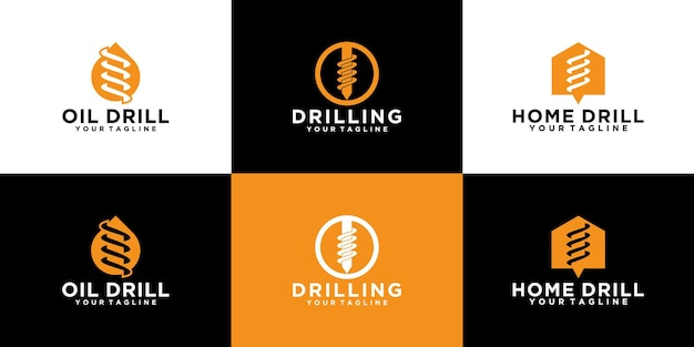 Set of logos for tools, drill bits, drilling