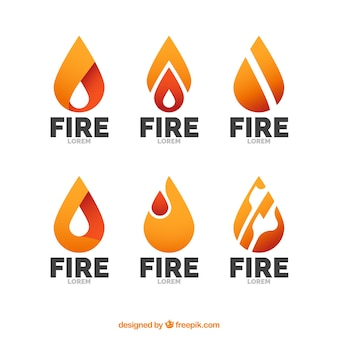 Set of logos with abstract flames