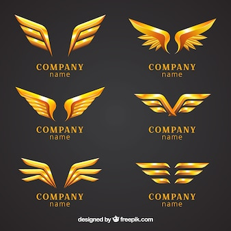 Set of logos with golden wings