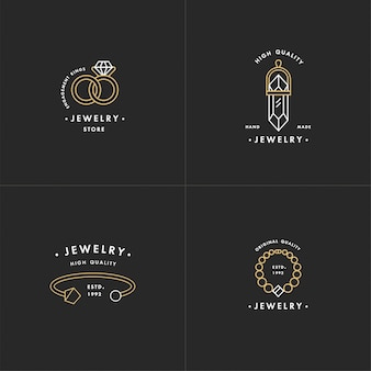 Set of logos with necklace and gem stone, wedding rings and bracelet