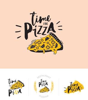 レストランやカフェのメニューデザインのロゴタイプを設定します。ベクトルのロゴのテンプレート。食べ物のアイコン、お菓子、飲み物、流行のレタリングのファーストフード