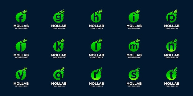 Set of logotype letter initial with dot and molecule concept logo template.