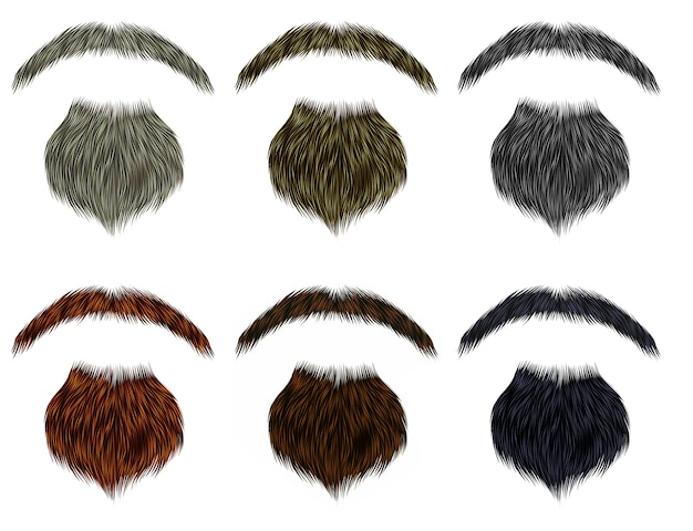 長いひげと口ひげの異なるcolor.fashion美容スタイルを設定します。