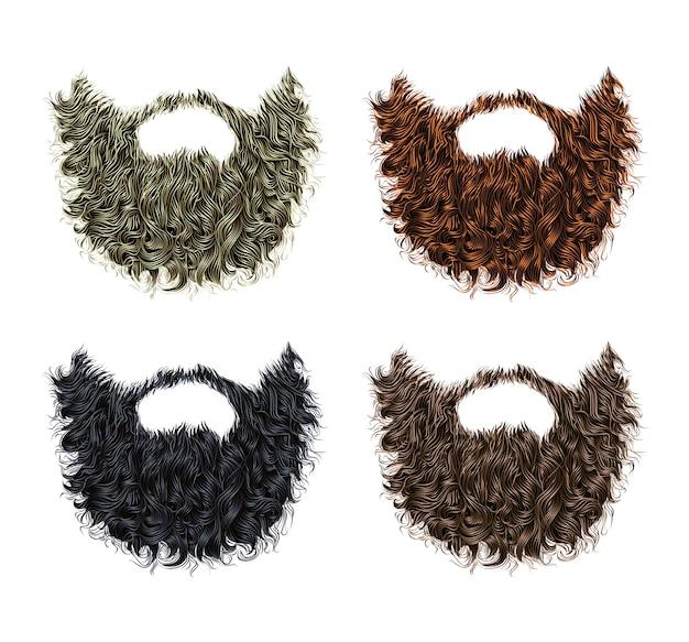 Установлена длинная курчавая борода и усы разных цветов.
