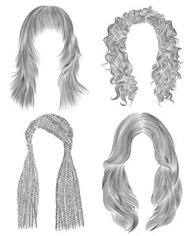 Установите длинные волосы женщины. черный карандашный рисунок эскиз. женская мода стиль красоты. африканские косички. бахромой кудри каскад.