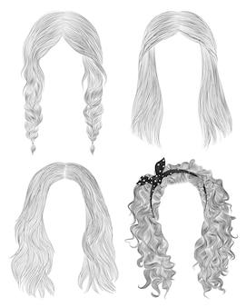 Установите длинные волосы женщины. черный карандашный рисунок эскиз. женская мода стиль красоты. бахромой кудри каскадные косички бантик.