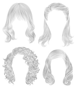 Установите длинные волосы женщины. черный карандашный рисунок эскиз. женская мода стиль красоты. бахромой кудри каскад.