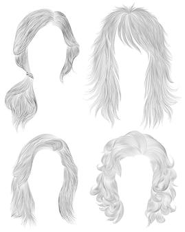 Установите длинные волосы женщины. черный карандашный рисунок эскиз. женская мода стиль красоты. хвостик . бахромой кудри каскад.