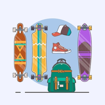 Set of longboards and skateboards of various shapes. line drawing. vector illustration.