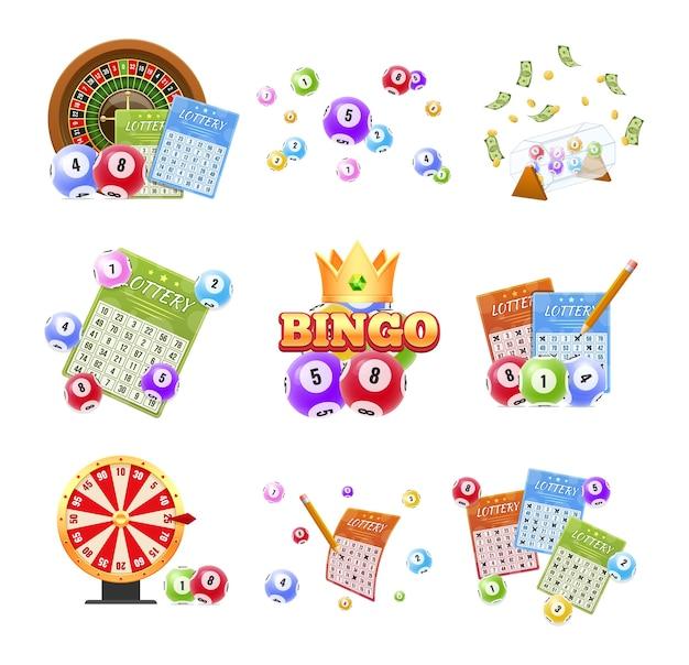Set of lottery tickets, bingo, roulette illustration