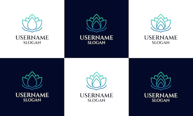 Set of lotus logo design template, magnolia flower line art style. yoga, spa, beauty salon luxury logo