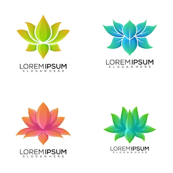 Set of lotus logo design